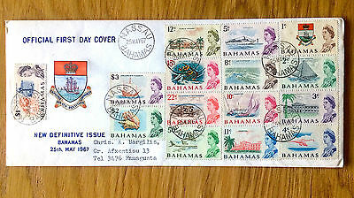 Bahamas 1967 New Definitive Issue To $3 (15 Stamps) On Very Fine F.d.c (1 Cover)