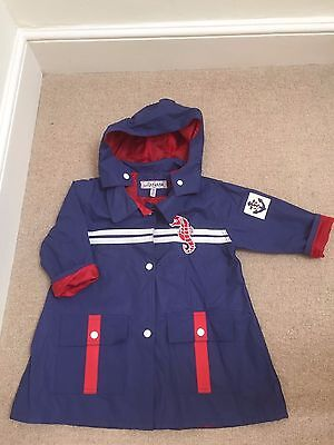 Girl's Raincoat / Mac aged 3 navy and red