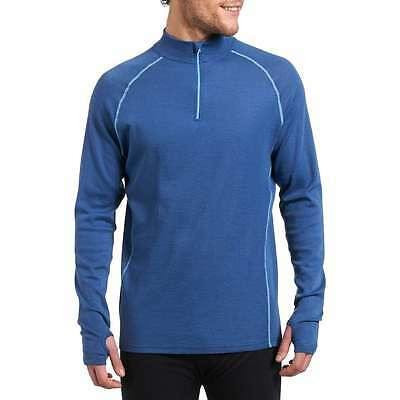 New Trekmates Mens Blue Merino Fusion Long Sleeve Baselayer Zip Top S / M / L