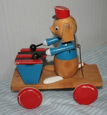 Giocattolo vintage cane xilofono anni '60 wooden pull toy with xylophone