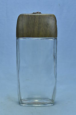 Vintage CLEAR GLASS WHISKEY LIQUOR FLASK w BROWN LID & UNIQUE SECURING BELT OLD
