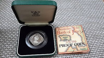 Jersey 1981 silver proof £1 coin. Battle Of Jersey. Case & COA. 10.45 grams