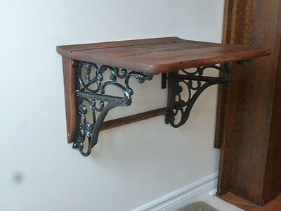 Antique Hall Table/ Shelf-Entry-Reception Repurposed Cast Iron/ Wood School Desk