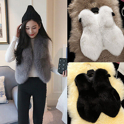 Womens Soft Fox Fur Vest Coat Sleeveless Waistcoat Gilet Jacket Outwear US XXS-M