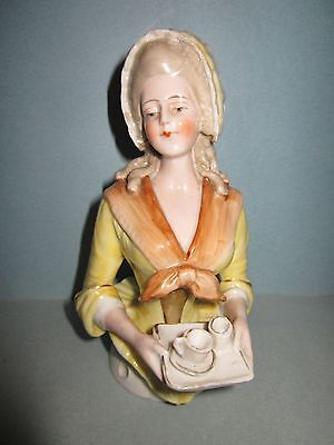 "Early Antique Rare 5"" China Half Doll The Chocolate Lady"