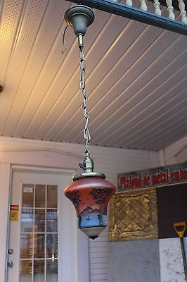 Pendant Light Fixture With Handpainted Shade , Victorian Era , Porch Light