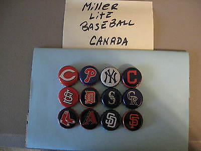 12 Different Miller Lite Baseball - Beer Bottle Caps / Crowns - Canada Issue