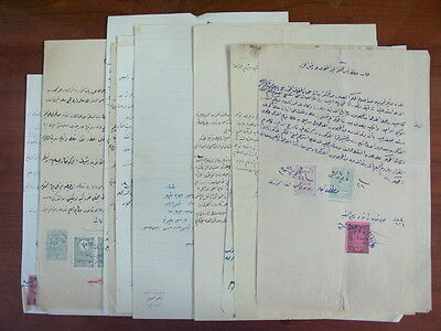 Syria Damascus Gov 20 Document W/ Hedjaz & Adpo Ottoman Revenue Stamps