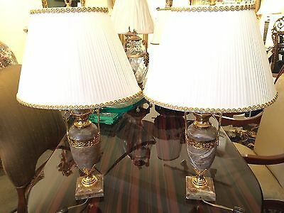 Pair of Italian Mable and Gold Plated Table Lamps
