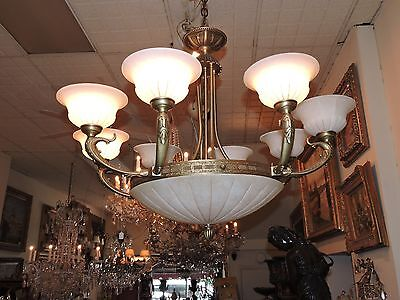 European Bronze & Alabaster Chandelier (8-Light)