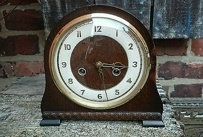 Smiths Enfield 8 Day Oak Case Striking Mantle Clock  Recently Serviced GWO