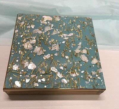 1950s Mid Century Lucite Powder Blue Sparkled Powder Compact Beautiful Branded