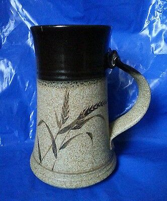 Large Tankard Beer Mug Studio Pottery Wheat Grain Design Hand Made with Stamp