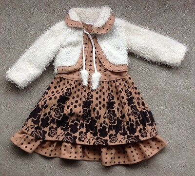 Girls Tan Flowery Dress With Co-Ordinating Jacket - Age 6 Years - Worn Once