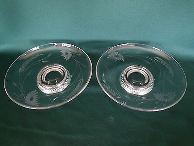 Pair Vintage Matching Etched Flower & Wheat Bowl Dish .925 Sterling Silver Base