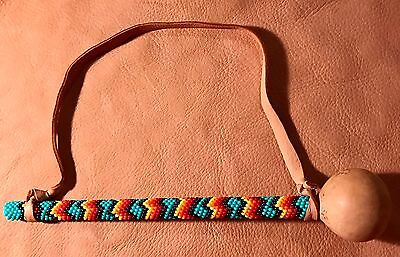 Native America Lakota Sioux Beaded Gourd Rattle Wall Hanging