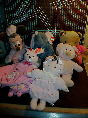 1320-6 Baby Plush Lot w/ TY PLUFFIES Bears Rattle Musical Carter Disneyland MORE