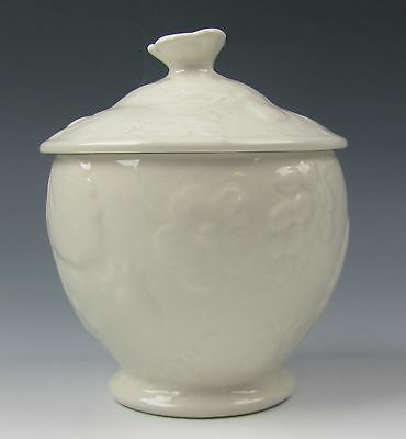 Burgess & Leigh China STRAWBERRY AND GRAPE LEAF WHITE Sugar Bowl with Lid EX