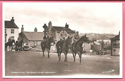 Wensleydale:- The Market Place. Middleham, Yorkshire postcard. Real Photo.