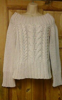 Pale pink chunky cable knit of shoulders  jumper size 10-12.