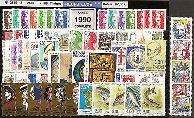 FRANCE Année COMPLETE 1990 - NEUF ** LUXE - 60 Timbres