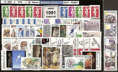 FRANCE Année COMPLETE 1991 - NEUF ** LUXE - 59 Timbres