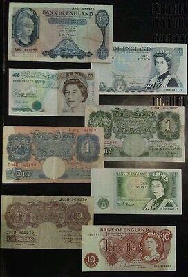 Group (12) of Bank England Notes ~ Pounds Shillings ~Various Periods~ 10, 5, 1