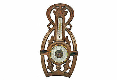 Antique Carved Barometer/ Thermometer, Dutch.
