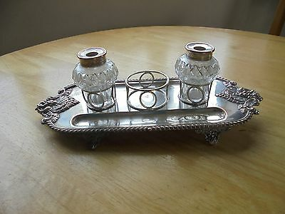 Vintage Silver Plated on Copper Ink Stand