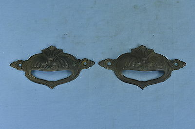 Antique  SET of 2 EMBOSSED CAST FILE CABINET DRAWER HANDLE PULLS RESTORATION #3