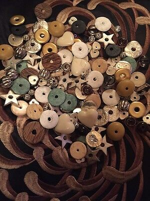 Bag Of Beads Findings Distressed Fab Mix Large Stars Hearts Circles Lovely Mix