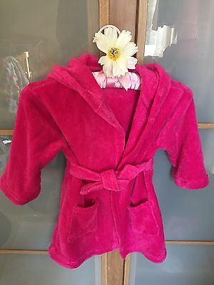 Hot Pink Girls Dressing Gown 2-3 Years With Hood