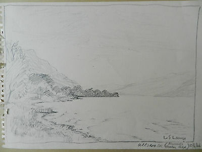 Original vintage rare pencil drawing of Ullswater hand signed L S Lowry 13/6/66