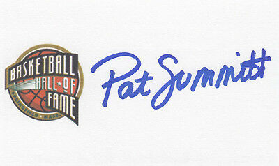 Pat Summitt SIGNED 3x5 CARD Tennessee Lady Vols Hall of Fame HOF AUTOGRAPHED