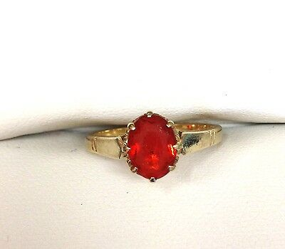 9 carat gold ring set with Fire Opal