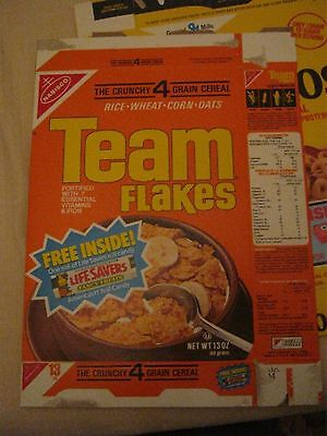 1984 Nabisco TEAM Flakes -lifesavers prize offer - vintage old cereal box RARE !