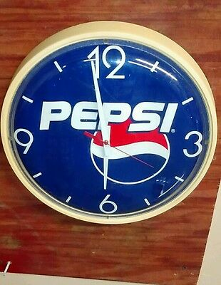 Vintage Pepsi Wall Clock Battery Operated Works Pepsi Cola Soda