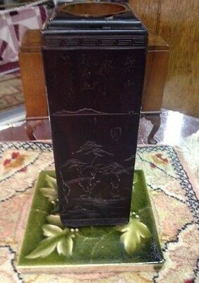 Antique, Brush Pot Rare Wood copper liner, carved w/calligraphy, 1900-1940,Asian