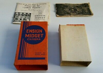 Vintage Ensign Midget Camera 33 & 55 Box, Sleeve, Manual X2