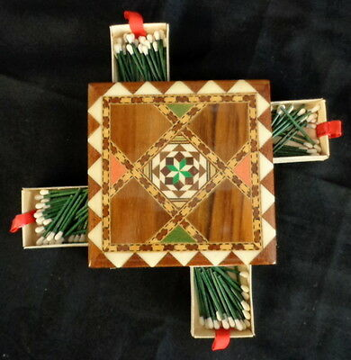 "Vintage TARACEA Marquetry Inlaid Wooden Match Box Holder Safe Cover 4"" x 4"""