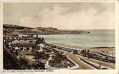 St. Helier Harbour from Westpark, Jersey, old coloured postcard, unposted