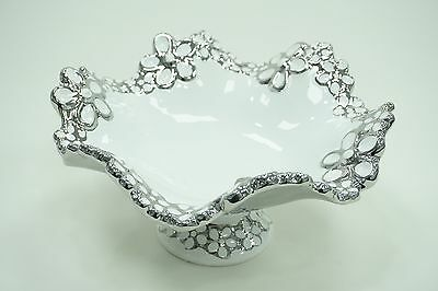 Large White And Silver Ceramic Fruit Bowl