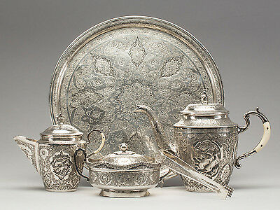 1580 Grams Antique Persian Qajar Islamic Solid Silver Coffe Service Set