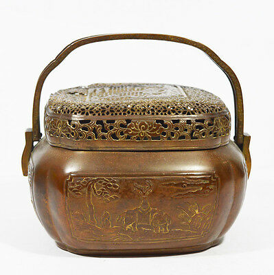ANTIQUE CHINESE CHINA HAND WARMER HAND WARMER POT BOWL 19th C
