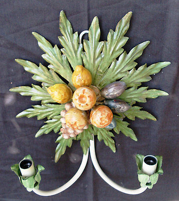Vintage Italian 2 Bulbs applique with fruit&Leaves Sconce, Wall Hanging Electric