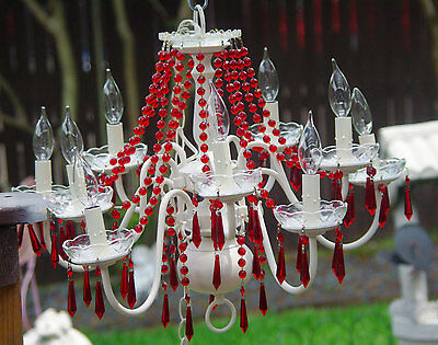 15% OFF Red Crystal Chandelier, 10 Bulb Crystal Chandelier, Painted Ivory White