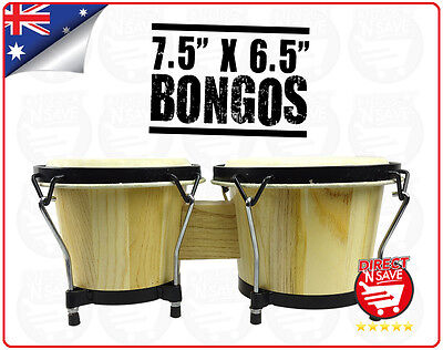 Adult Bongos Solid Timber Percussion Instruments Wooden Tuning Drum