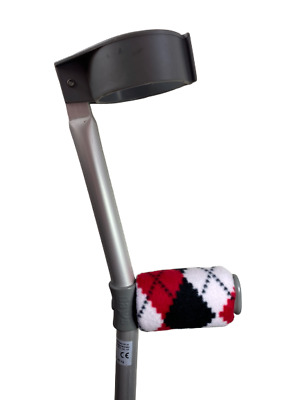 Crutch Handle Padded Covers HIGH QUALITY Cushioned Foam -  Red and Black Argyle