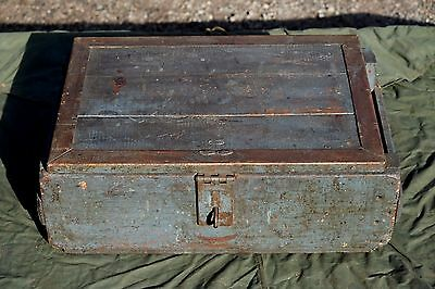 Vintage Wooden Toolbox, Engineers Box, Shabby Chic, Industrial