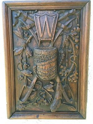 Unusual Antique Wood Carved Panel